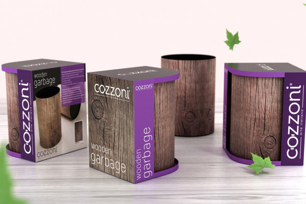 Cozzoni - Wooden Pattern Trash Can